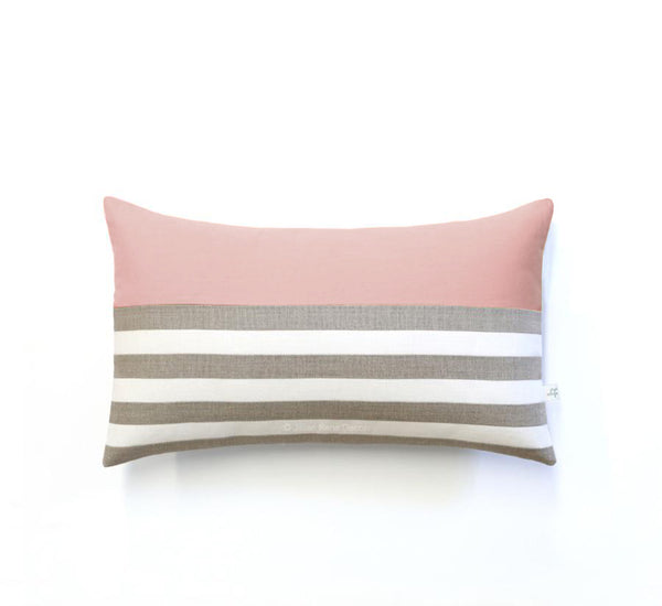 Breton Stripe Lumbar Pillow - Natural, Cream and Blush
