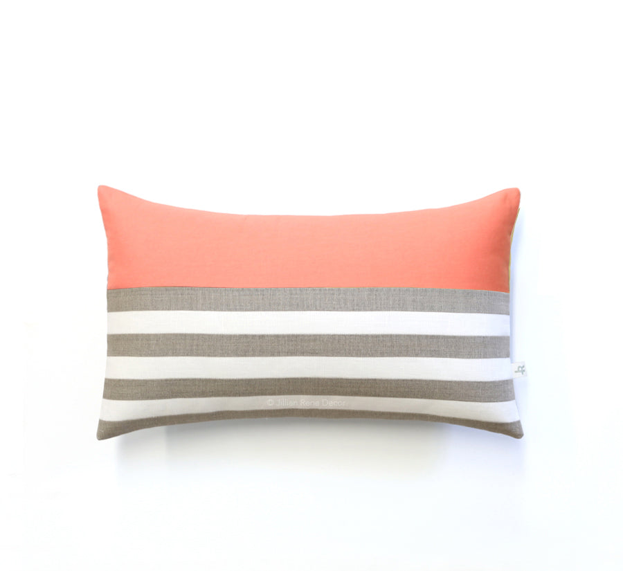 Breton Stripe Pillow - Natural, Cream and Cantaloupe