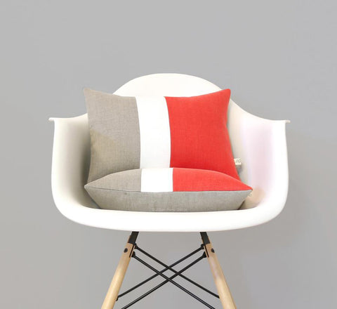 Colorblock Pillow - Coral/Cream/Natural