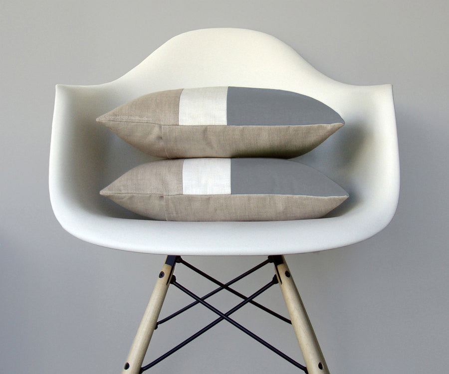 Colorblock Pillow - Grey/Cream/Natural