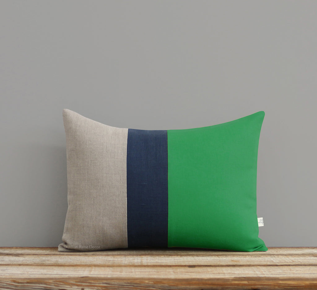 Colorblock Pillow - Kelly, Navy and Natural