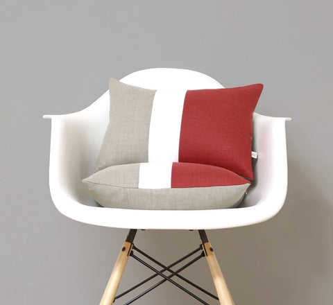 Colorblock Pillow - Marsala/Cream/Natural