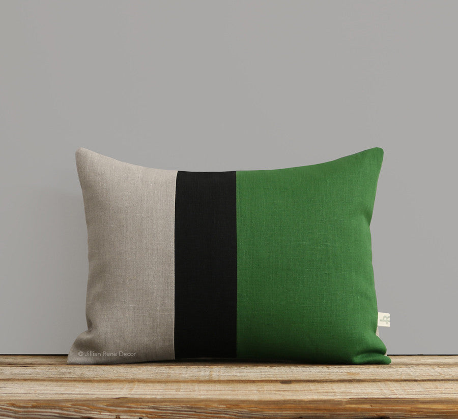 Colorblock Pillow - Meadow/Black/Natural