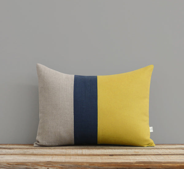 Colorblock Pillow - Mustard, Navy and Natural