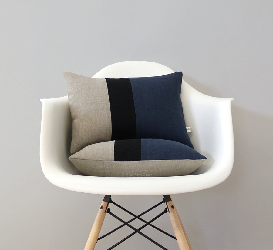 Colorblock Pillow - Navy/Black/Natural