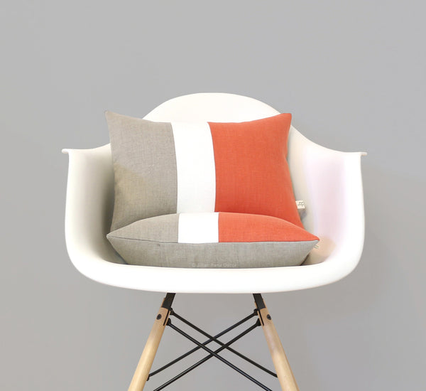 Colorblock Pillow - Orange/Cream/Natural