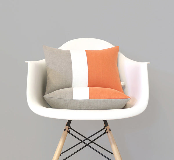 Colorblock Pillow - Pumpkin Orange, Cream and Natural