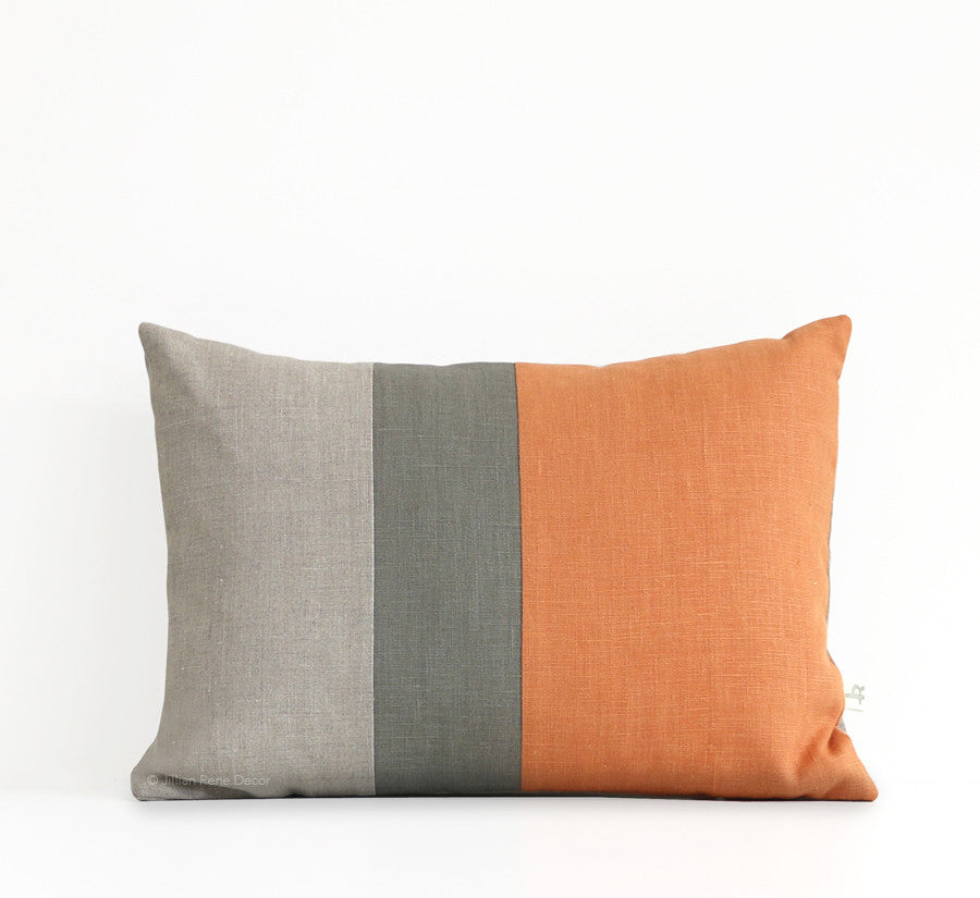 Colorblock Pillow - Pumpkin