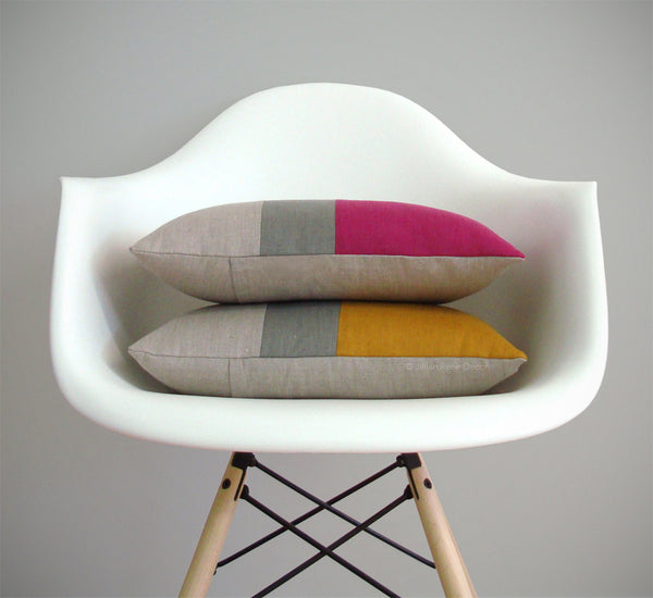 Colorblock Pillow - Raspberry or Marigold