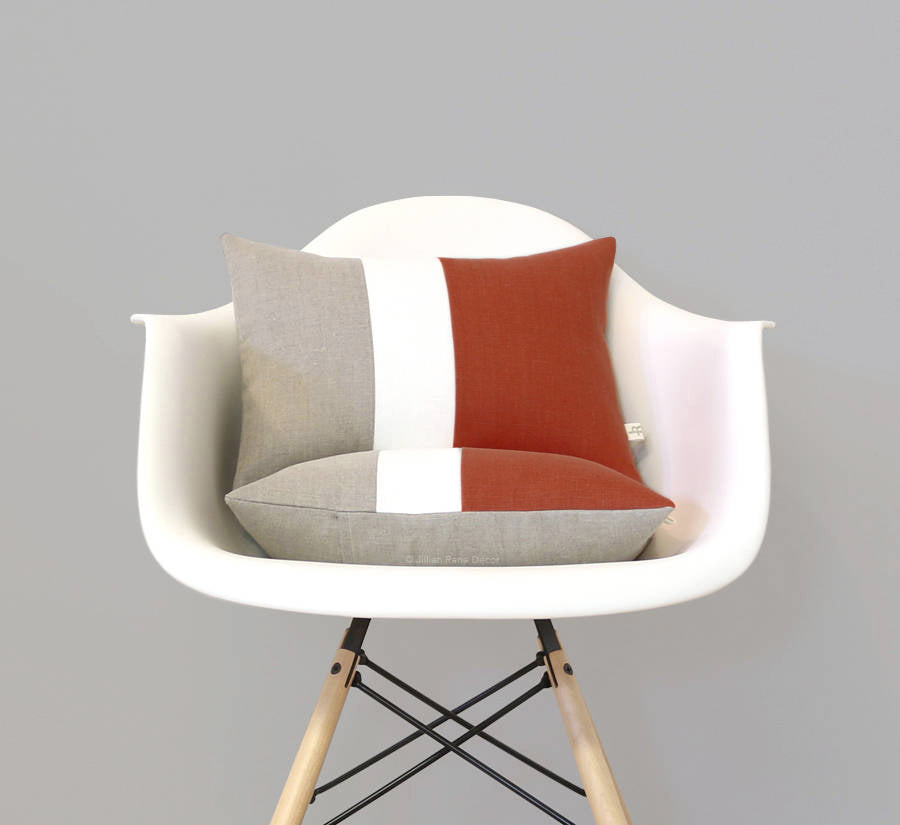 Colorblock Pillow - Rust/Cream/Natural
