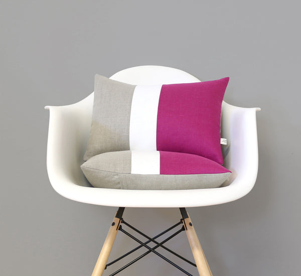 Sangria Colorblock Pillow with Cream Stripe