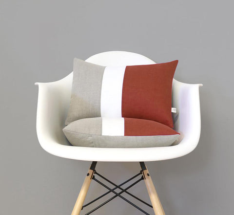 Sienna Colorblock Pillow with Cream Stripe