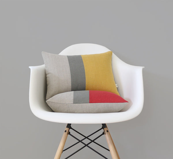 Colorblock Pillow - Squash or Marsala