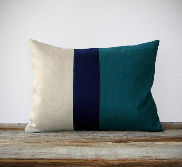Colorblock Pillow - Teal/Navy/Natural