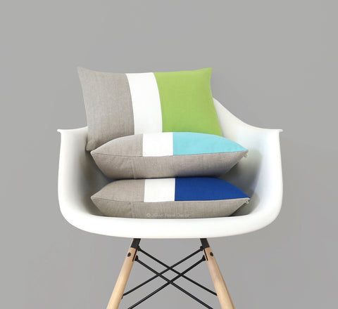 Colorblock Pillow Covers - Lime, Mint, Cobalt