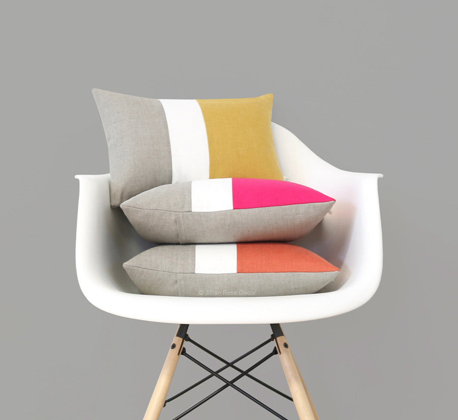 Colorblock Pillow Covers - Yellow, Hot Pink or Orange