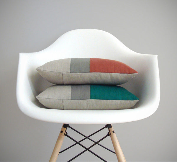 Colorblock Pillow - Sienna or Biscay Bay