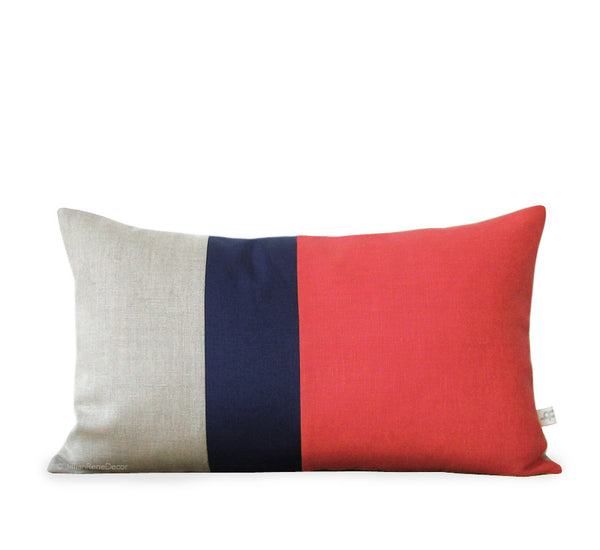 Colorblock Pillow - Coral/Navy/Natural
