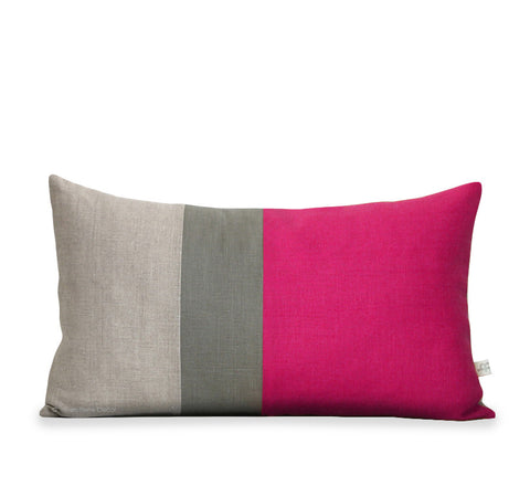 Colorblock Pillow - Hot Pink/Grey/Natural