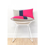Colorblock Pillow - Hot Pink/Navy/Natural