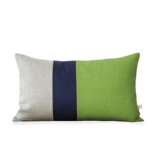 Colorblock Pillow - Lime/Navy/Natural