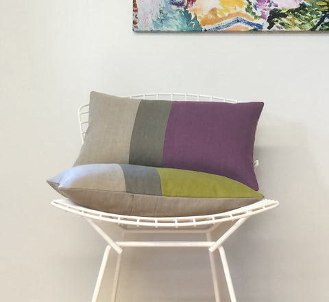 Colorblock Pillow - Amethyst or Linden