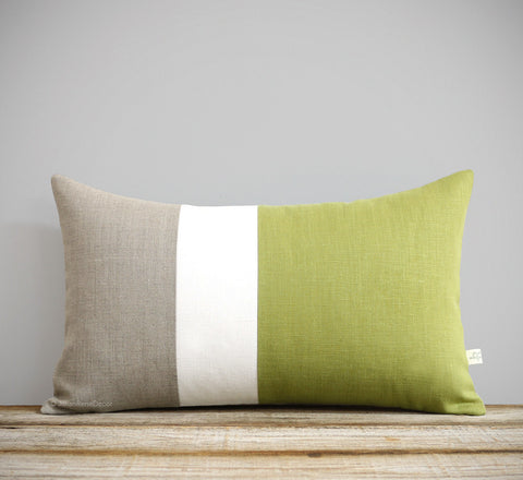 12x20 Linden Green Colorblock Pillow Cover