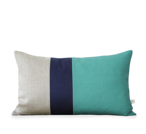 Colorblock Pillow - Mint/Navy/Natural