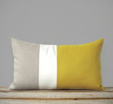 Colorblock Pillow - Mustard/Cream/Natural