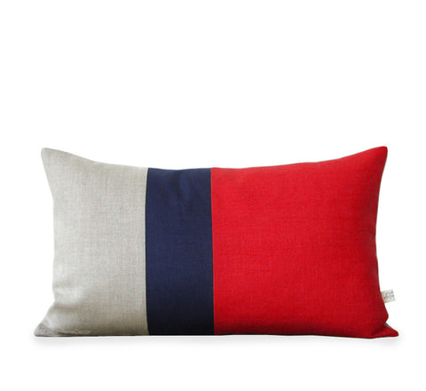 Colorblock Pillow - Poppy/Navy/Natural