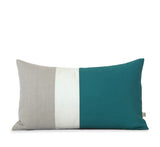 Colorblock Pillow - Teal/Cream/Natural