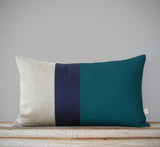 Colorblock Pillow Teal Navy Natural By Jillian Rene Decor