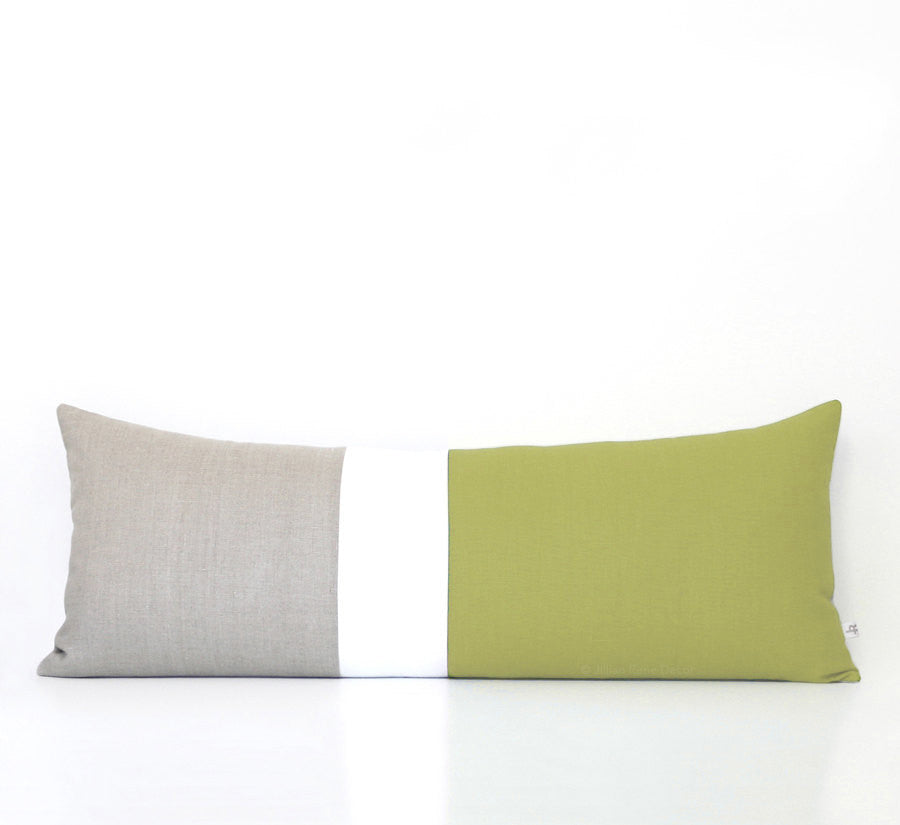 Lumbar Colorblock Pillow Cover - Linden Green
