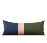 Navy, Blush and Olive Colorblock Pillow