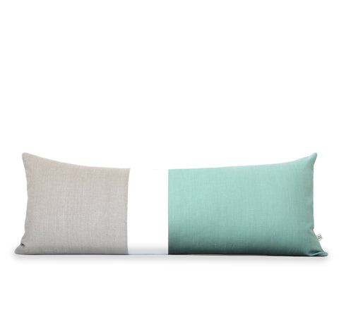 Aqua and Cream Colorblock Pillow (14x35)