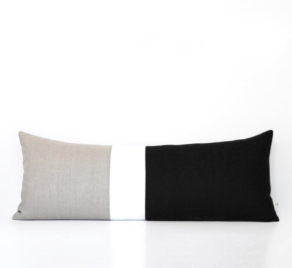 Black and Cream Colorblock Pillow (14x35)