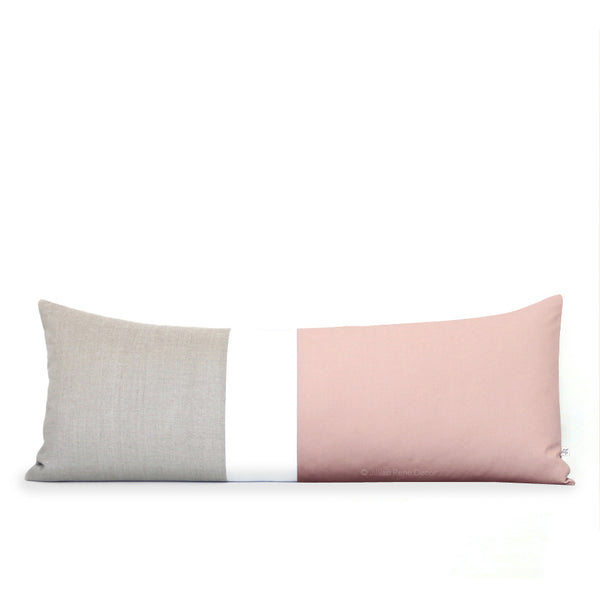 Blush and Cream Colorblock Pillow (14x35)