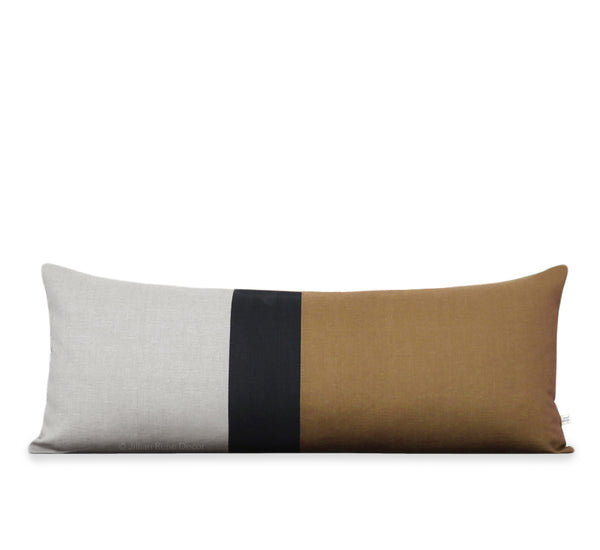 Extra Long Lumbar Colorblock Pillow (14x35) Caramel, Black and Natural