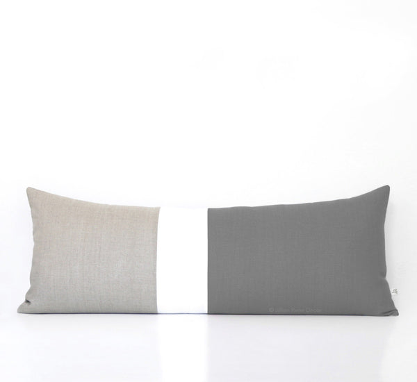 Extra Long Lumbar Colorblock Pillow (14x35) Stone Grey