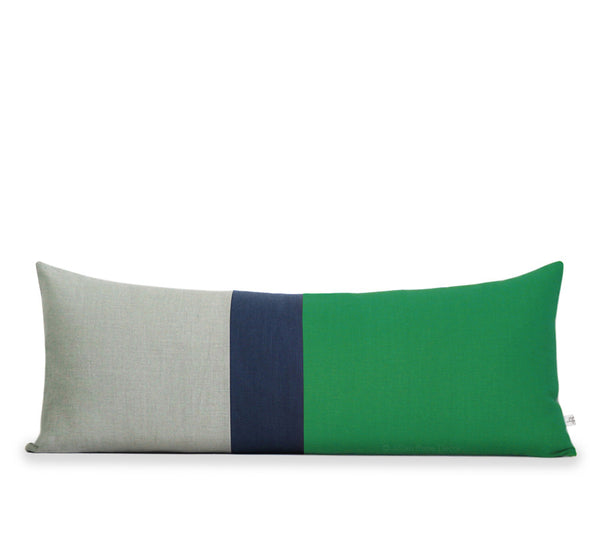 Lumbar Colorblock Pillow - Kelly Green, Navy and Natural Linen