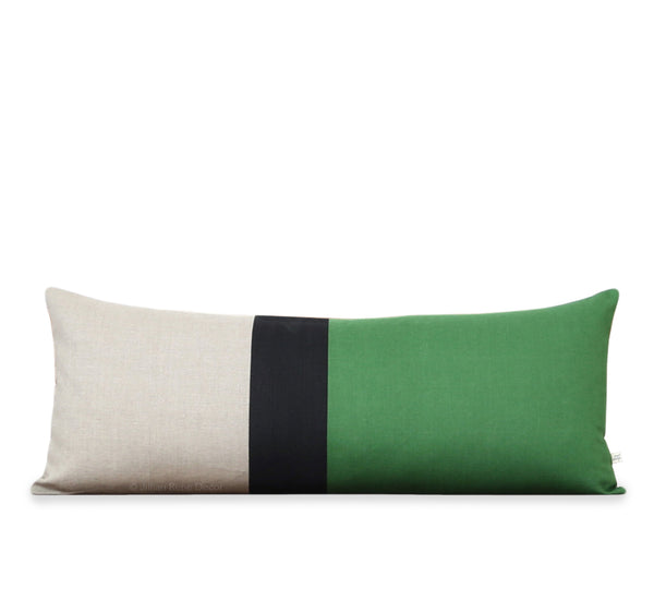 Extra Long Lumbar Colorblock Pillow (14x35) Meadow, Black and Natural