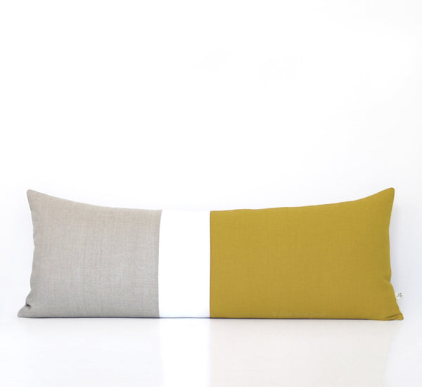 Extra Long Lumbar Colorblock Pillow (14x35) Mustard