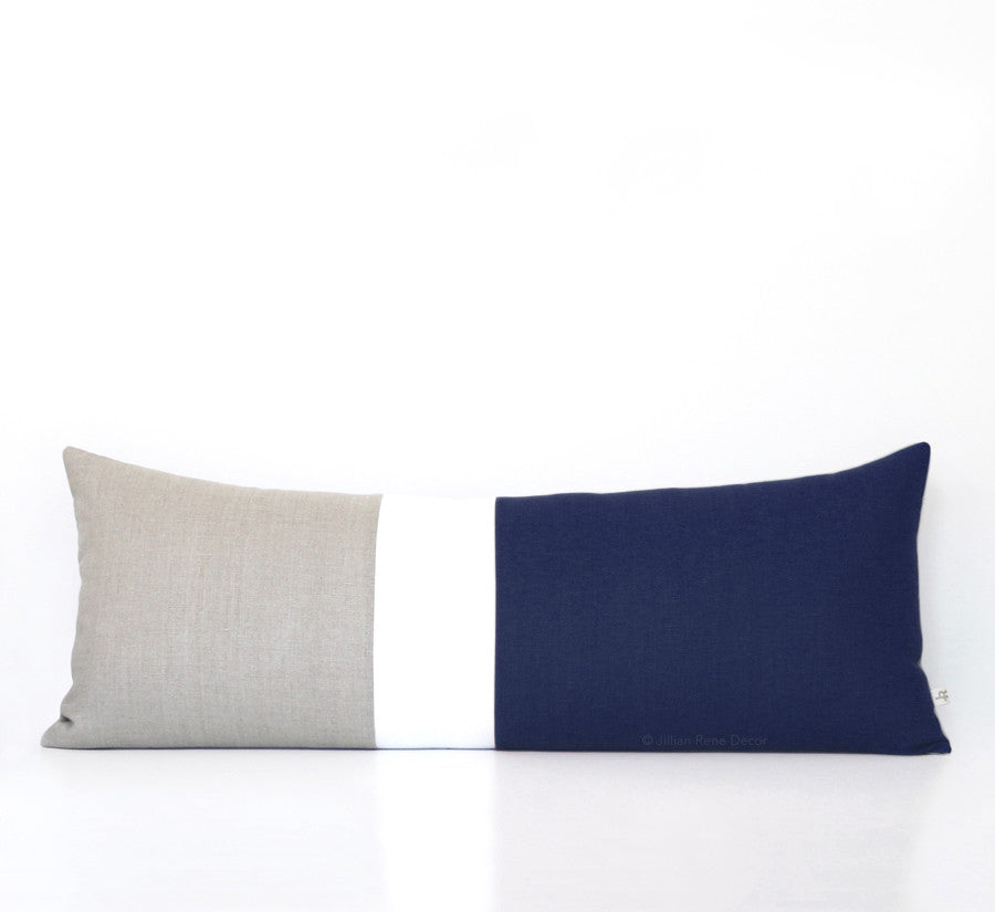 Lumbar Colorblock Pillow - Navy Blue