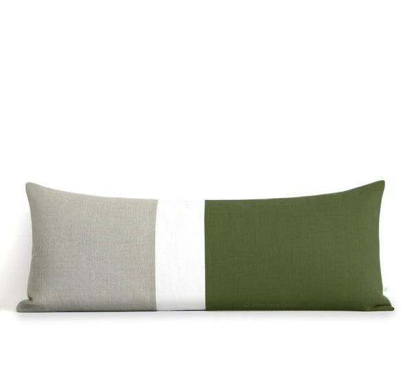 Extra Long Lumbar Colorblock Pillow (14x35) Olive