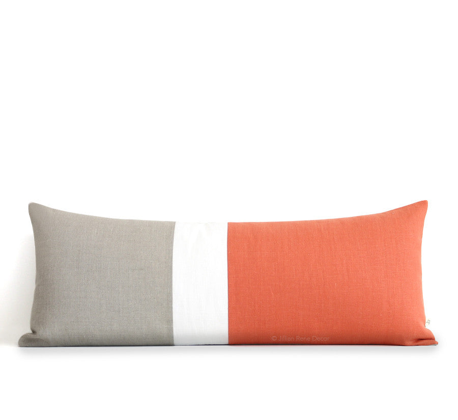 Extra Long Lumbar Colorblock Pillow (14x35) Orange