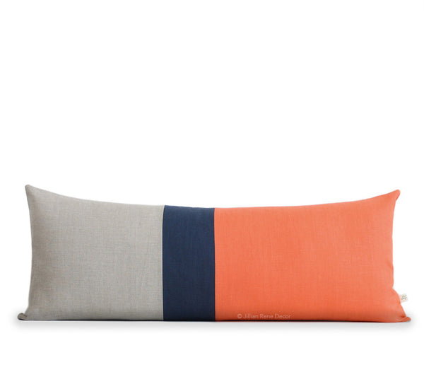 Extra Long Lumbar Colorblock Pillow - Orange, Navy and Natural