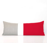 Extra Long Lumbar Colorblock Pillow (14x35) Poppy Red