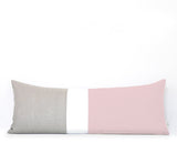 Rose Quartz Colorblock Pillow - 2016 Pantone Color of the Year