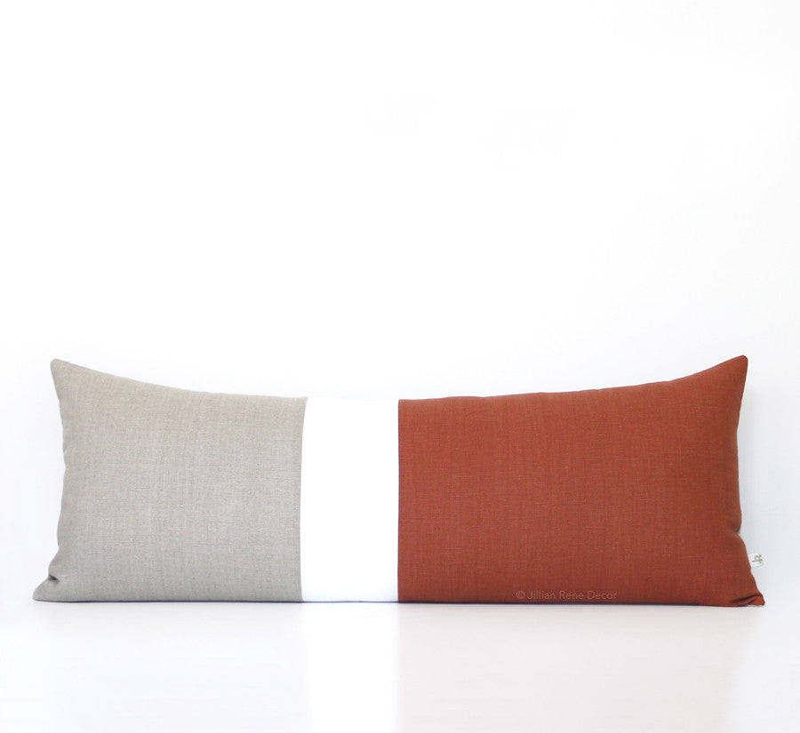 Lumbar Colorblock Pillow - Sienna