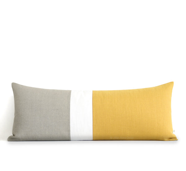 Extra Long Lumbar Colorblock Pillow (14x35) Squash Yellow